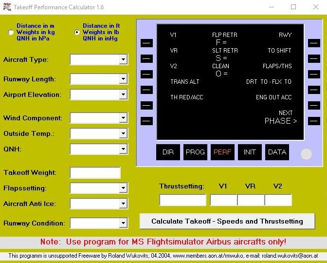 Takeoff Perfomance Calcluator - BLACKBOX SIMULATION SOFTWARE